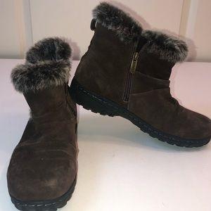 Brown Suede Leather/fur Booties sz 8